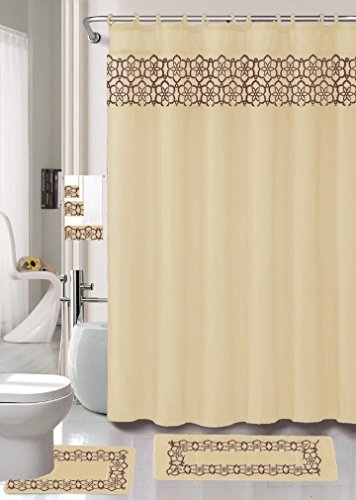 18 Piece Elegant Bathroom Set: 2-Rugs/Mats (1-Contour Rug, 1-Bath Mat) Poly Acrylic Pile Rubber Backing, 1-Fabric Shower Curtain, 12-Fabric Covered Rings, 3-Piece Decorative Towel Set (Beige) ()