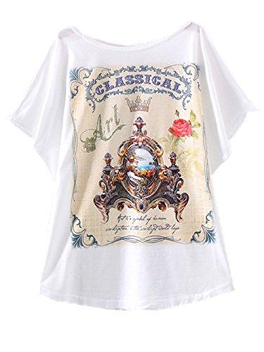 Abbigliamento Supera Del Delle 3 Pipistrello T Sottili T Donne shirt Casual Estate Manicotto Bianco Ragazze Stampate Yichun 0HwIfO0q