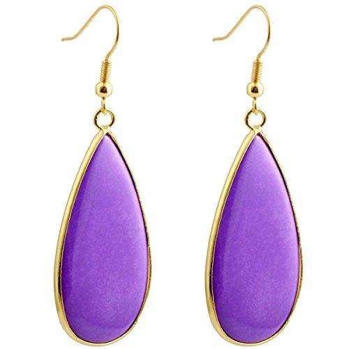 SUNYIK Women's Purple Howlite Turquoise Round Teardrop Dangle Earrings