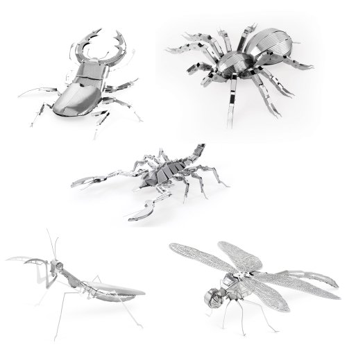 Set of 5 Metal Earth 3D Laser Cut Models - Bugs: Scorpion, Stag Beetle, Tarantula, Praying Mantis, & Dragonfly