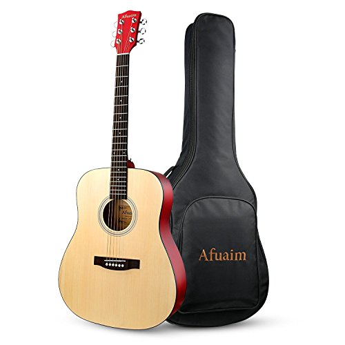 Guitar Acoustic 41 Inch Full Size Dreadnought Spruce Steel String Guitar Pack-Natural By Afuaim