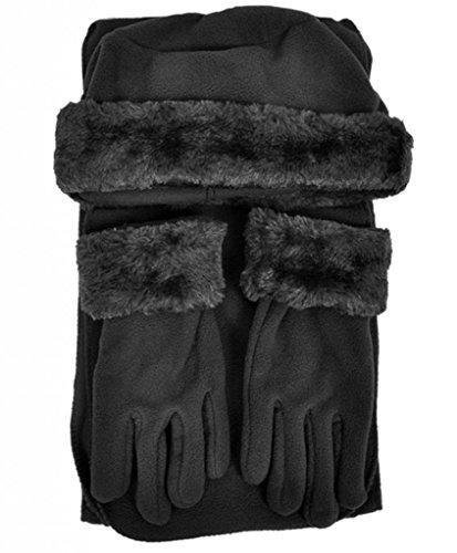 Cloche Fur Trim 3 Piece Fleece Hat, Scarf & Glove Women's Winter Set, Black