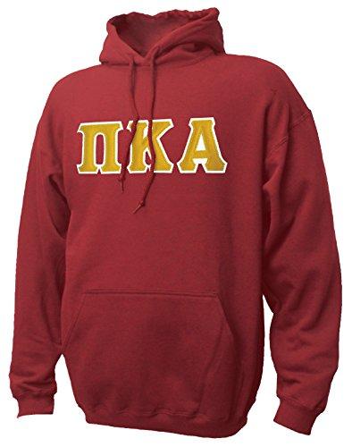 Greek Sewn On Letters - Campus Classics Pi Kappa Alpha Hooded Sweatshirt with Sewn On Greek Letters Medium Garnet