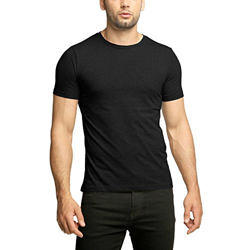 OA Men's Basic Muscle Fit T-Shirt With Crew Neck Stretch Tee In Black M Stretch Muscle T-shirt