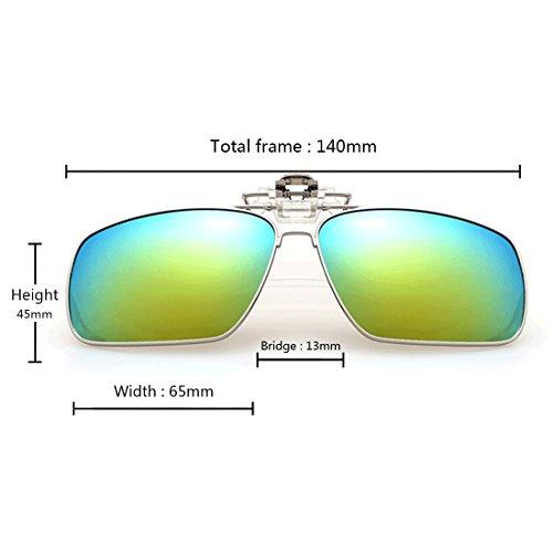 rectangulares Clip polarizadas Azul gafas Metal en de polarizado Unisex Flip Aiweijia sol gafas Clip sol up de Ff1wZ1qd