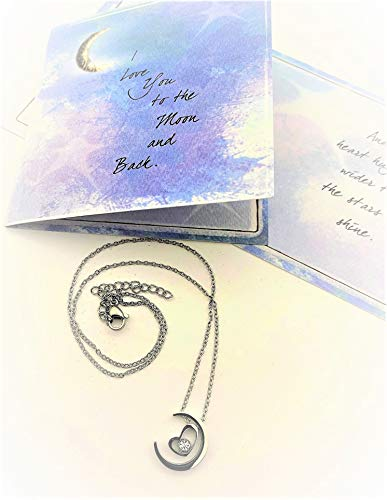 Smiling Wisdom - Heart in Moon Girls Cute Necklace Set - I Love You to The Moon and Back Greeting Card for Girls, Teens, Granddaughter, Niece, Birthday, Valentines, Just Because - Stainless Steel