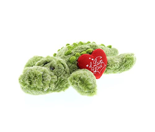 DolliBu Small Green Alligator I Love You Valentines Stuffed Animal - Heart Message -11.5 inch - Wedding, Anniversary, Date Night, Long Distance, Get Well Gift for Her, Him, Kids - Super Soft Plush]()