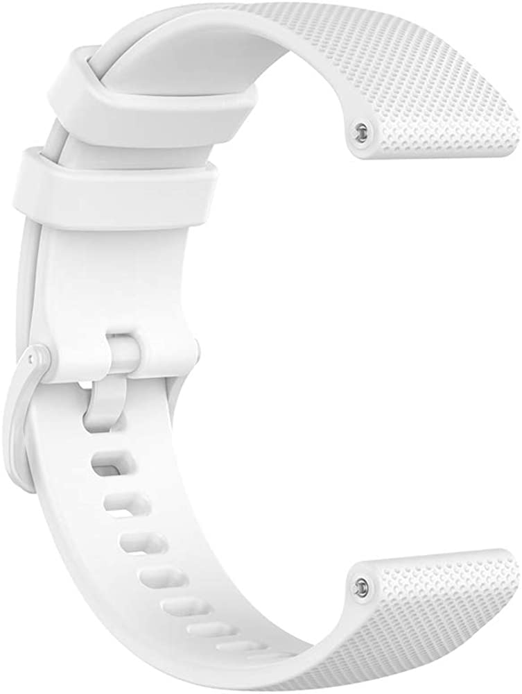 Bracelet de rechange en silicone compatible avec montre connectée Huawei GT2 (42 mm), 20 mm de largeur Blanc