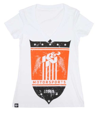 K/&N 88-7050-XL White X-Large V-Neck T-Shirt with K/&N Shield Logo K/&N Engineering