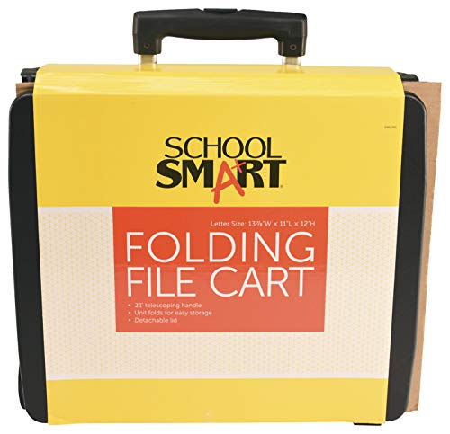 School Smart Letter Size Folding File Cart with Handle, 11 x 11 x 12-7/8 Inches