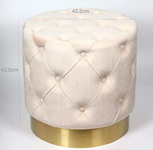 nobrand Modern Creamy White Velvet Round Ottoman Stool with Stainless Steel Base – Upholstered, Contemporary, Home Decor