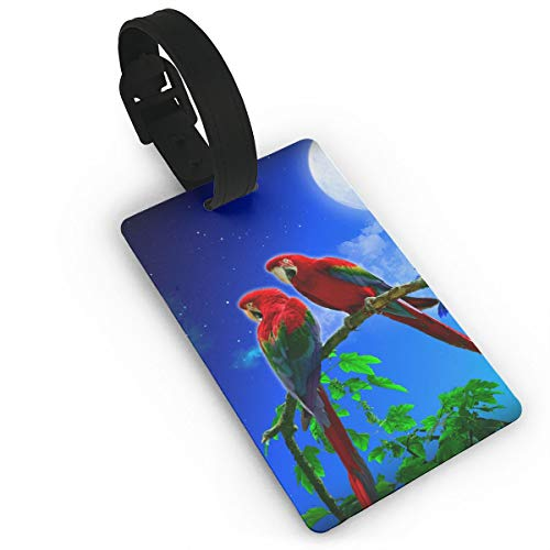 Parrots Couple Night Full Moon Travelling Luggage Tag Cute ID Tags Business Card Holder - 5 Pack by ZGZGZ