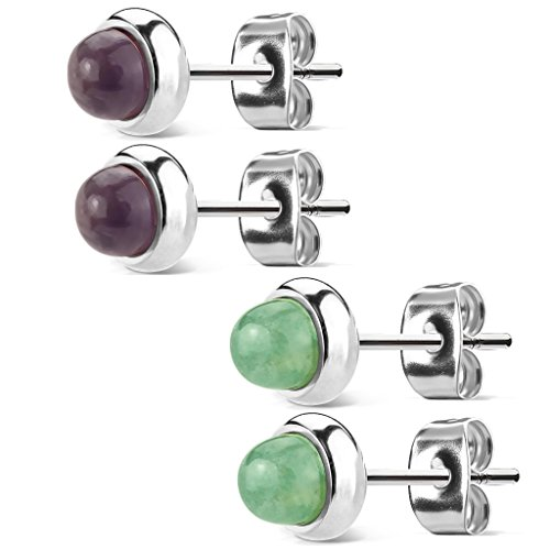 (Pair of Bezeled Semi Precious Stone Set 316L Surgical Steel Earrings. (Amethyst and Jade Pairs))