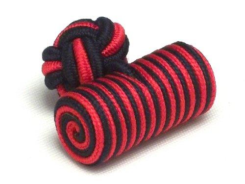 Boutons de manchette - Passementeries cylindres rouges et bleus