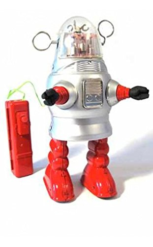 TinToyArcade Robby Piston Action Robot Silver