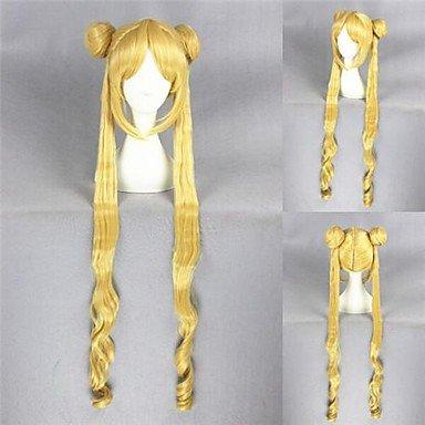 Fashion wigstyle largo rizado sintético rubio de Sailor Moon Anime Cosplay peluca de pelo