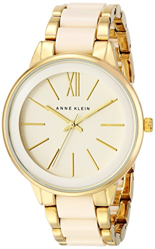 Gold Tone Ivory Dial - Anne Klein Women's AK/1412IVGB Gold-Tone and Ivory Resin Bracelet Watch