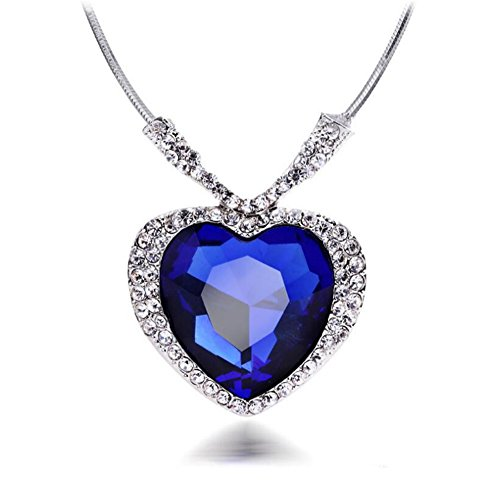 Huge Titanic Heart Of The Ocean Sapphire Blue CZ Crystal Necklace (Titanic Heart)