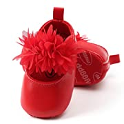 Lanhui Toddler Girl Soft Sole Crib Shoes Flower Sneaker Baby Fashion Dance (0-6Months, Red)