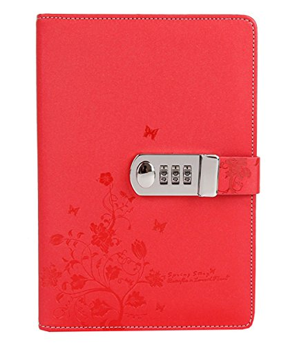 Vintage Style Leaf Leaves Pattern PU Cover Notepad Travel Journal Diary (Red) - 4
