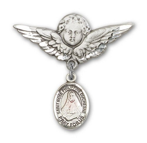 Icecarats Créatrice De Bijoux En Argent Sterling St. Rose Broches Badge Philippine Charme D'Ange 1 1/8 X 1 1/8