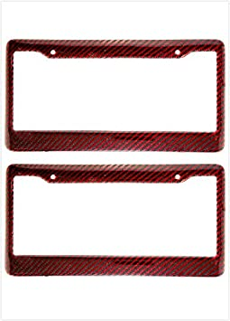Kimoo Red Carbon Fiber Look License Plate Tag Frame Cover Universal 2X Red