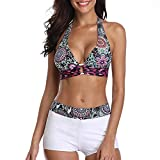 Zando Womens Swimsuits Halter Push Up Bikini Top with Boyshort Two Piece Bathing Suits for Women Athletic Swimwear Ladies Swimsuits 1 Floral White M (fits like US 6-8)