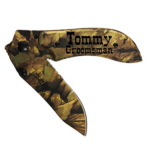 The Wedding Party Store Personalized Leaf Camo Pocket Knife - Custom Engraved Groomsmen Knives (Pocket Knife Engraved Camo)