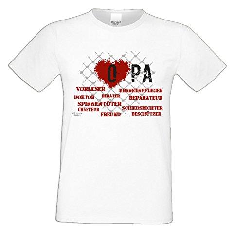 Großvater Fun-T-shirt als Top Geschenk mit GRATIS Urkunde - Herz Opa Farbe: weiss Gr: S