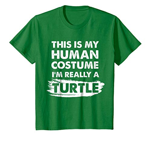 Kids This Is My Human Costume I'm Really a Turtle Halloween Shirt 12 Kelly Green -