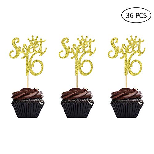 36pcs Gold Glitter Sweet 16 Cupcake Toppers Handcrafted 16th Birthday Party Decors