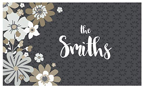 Studio M MatMates Simply Floral Tan Personalized Indoor Outdoor Custom Mat, Your Family Name, Non-Slip Recycled Rubber Back, Printed in USA, 18 x 30 Inches (Welcome Personalized Mat)