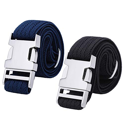 Boys Adjustable Stretch Belt for Kids - 2PCS Zinc Alloy Childrens with Easy Clasp Belt for Toddlers Boys Girls(Black Ripple/Navy Blue Ripple)