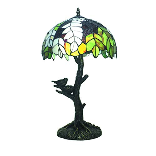 AYEN Tiffany Style Table Lamp European Creative Lighting Tree and Bird Desk Lamp for Study Living Room Bedroom Light ()
