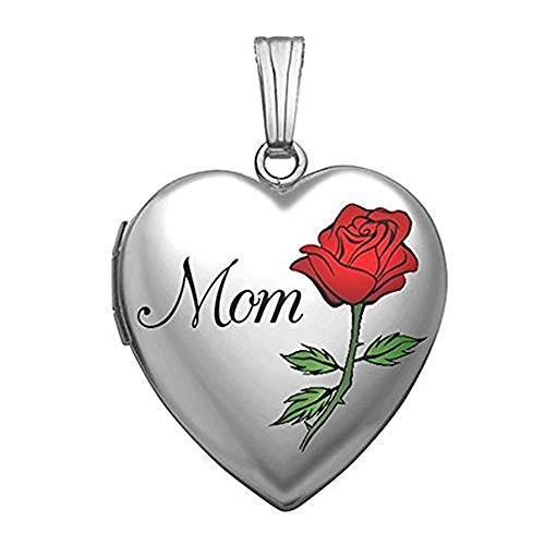 PicturesOnGold.com Sterling Silver Mothers Day Mom Heart Locket - 3/4 Inch X 3/4 Inch WITH ENGRAVING (Necklace Heart Mom Locket)