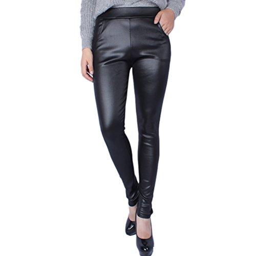 Zhhlaixing Ventas calientes Milk Silk Composite Thickening Pants PU Leather Leggings Pocket Pants Excellent Workmanship for Women Black