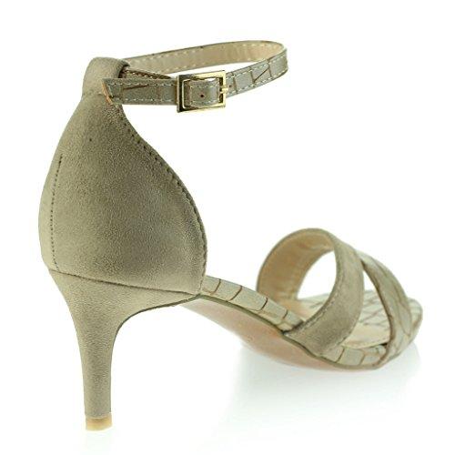 Frau Damen Offener Zeh Mitten Niedrig Hacke Abend Party Jeden Tag Lässige Sandalen Schuhe Größe Beige