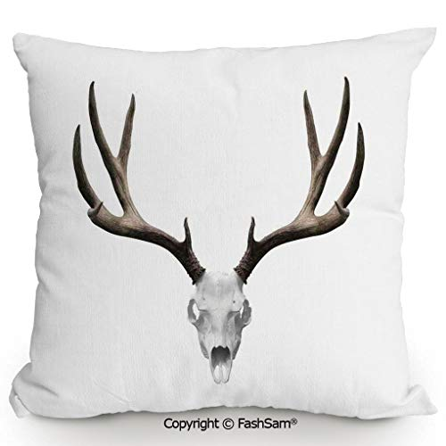 FashSam Decorative Throw Pillow Cover A Deer Skull Skeleton Head Bone Halloween Weathered Hunter Collection Decorative for Pillow Cover for Living Room(18