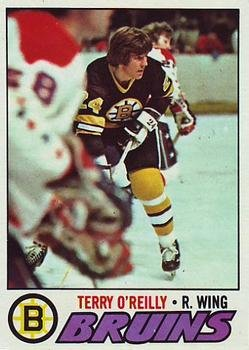- 1977 Topps Regular (Hockey) card#220 Terry O'Reilly of the Boston Bruins Grade very good/excellent