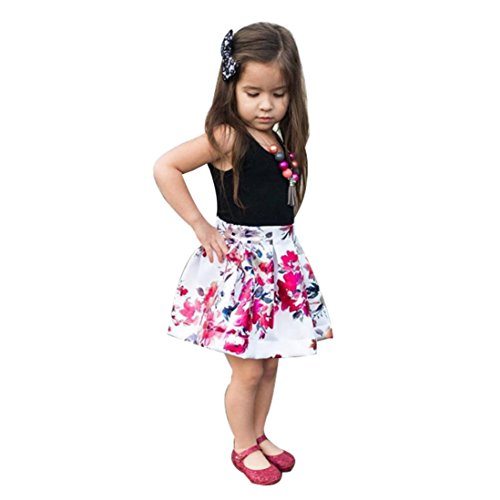 CSSD Toddler Infant Baby Girl Sleeveless Soild Color T-Shirt Tops+Floral Skirt Outfit Clothes Set 12M-5T (4T, Black) ()
