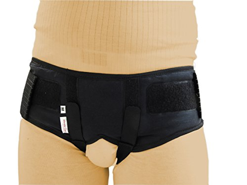 Wonder Care-Black Double/Single Inguinal Hernia Belt Support Brace - Truss Brace with two compression pads-medium