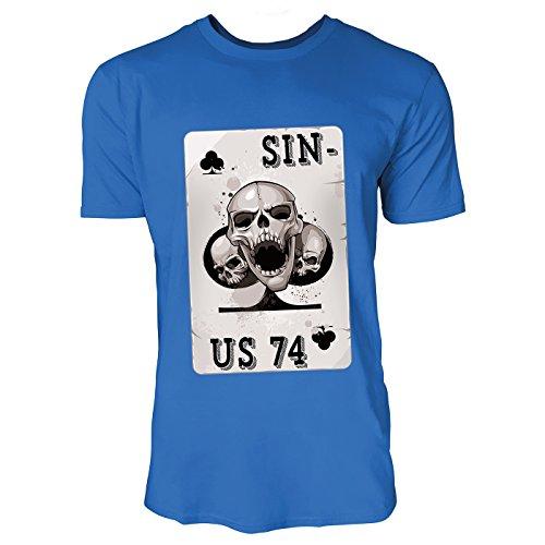 SINUS ART® Pokerkarte mit Totenköpfen Herren T-Shirts in Blau Fun Shirt mit tollen Aufdruck