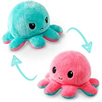 TeeTurtle | The Original Reversible Octopus Plushie | Patented Design | Light Pink and Light Blue | Happy + Angry | Show…