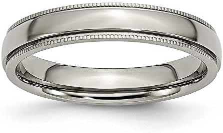 Titanium Grooved and Beaded 4mm Polished Band Ring - Ring Size Options: 10 10.5 11 11.5 12 4 4.5 5 5.5 6 6.5 7 7.5 8 8.5 9 9.5