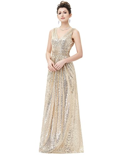 - Kate Kasin Sexy Floor Length Sequins Evening Dress Formal Ball Gown Light Gold Size 4 KK199