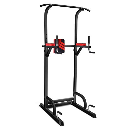 Magic FIT Power Tower Dip/Pull Up Station Multi-Function Workout Equipment for Home Gym Training Fitness Exercise 8 Levels Adjustable Height