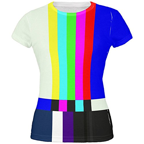 Halloween SMPTE Color Bars Late Night TV Costume All Over Juniors T Shirt Multi MD
