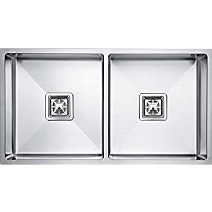 "SERIES304 Handmade Matt Finish Double Bowl Stainless Steel Kitchen Sink (37″ x 18″ x 10"")"