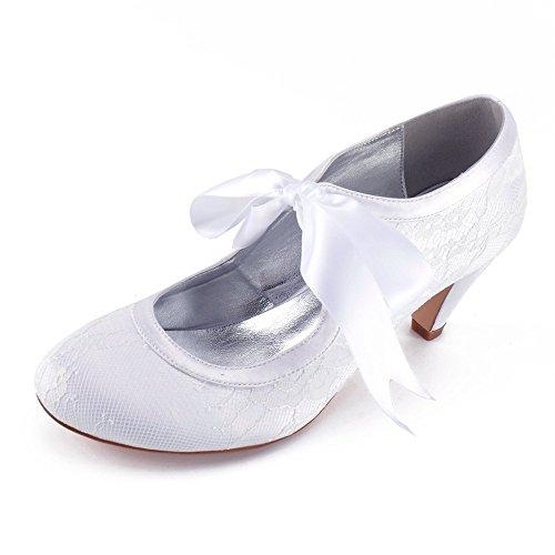 de Dentelle Rond Chaussures Satin Femmes Bas à Rubans Zxstz en Talons Bout Mariage blanc pPCqq4