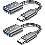 USB C to USB Adapter [2 Pack], JSAUX USB Type C Male to USB 3.0 Female OTG Cable Thunderbolt3 to USB Adapter Compatible with MacBook Pro/Air 2019 2018 2017, Samsung Galaxy S20 S20+ Ultra Note 10 S9 S8